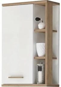 Dulap suspendat pelipal Noventa 74,5x50,5 cm alb lucios/stejar
