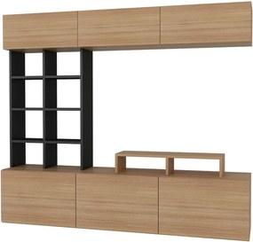 Set comoda TV din PAL melaminat Stella II Natur/Negru