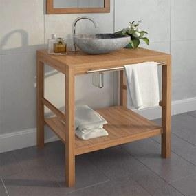 246492 vidaXL Dulap de chiuvetă baie, lemn masiv de tec, 74 x 45 x 75 cm