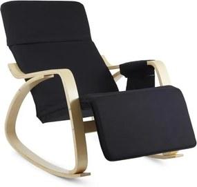 OneConcept Beutlin, scaun balansoar 68X90X97 CM (LxÎxA), mesteacăn, lemn, negru