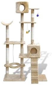 Ansamblu de joacă cu stâlp 175 cm 2 căsuțe Bej
