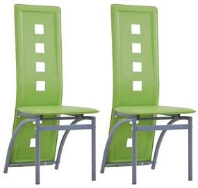 281717 vidaXL Scaune de bucătărie, 2 buc., verde, piele ecologică