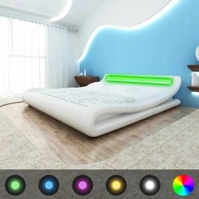 243150 vidaXL Cadru de pat cu LED, piele artificială, 180 x 200 cm, Alb