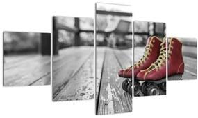 Tablou cu pantofi cu role vechi roșii (125x70 cm), în 40 de alte dimensiuni noi