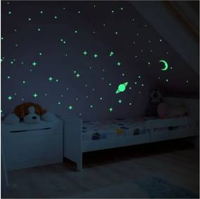 Autocolant fosforescent pentru perete Ambiance Moon and Planets