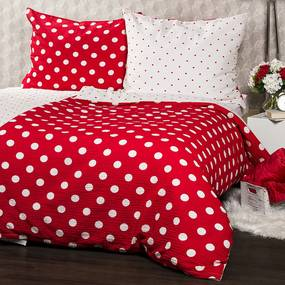 Lenjerie de pat din crep 4Home Bulină roşie, 160 x 200 cm, 70 x 80 cm