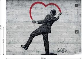 Fototapet - Banksy Graffiti Concrete Texture Vliesová tapeta - 254x184 cm