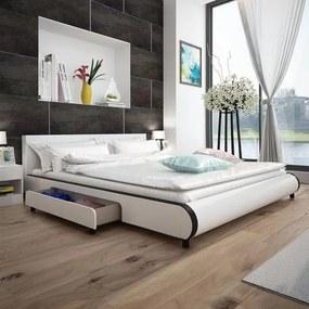 Pat 180 x 200 cm cu 2 sertare, piele artificială, alb