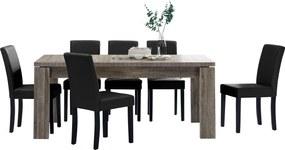 [en.casa]® Masa rustica imitatie spectaculoasa stejar Model 13, maro inchis - 170 x 79 cm - cu 6 scaune imitataie de piele - negru cu picioare negre