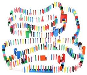Set constructie Domino, joc educativ pentru copii din lemn, 1080 piese, cu accesorii, multicolor