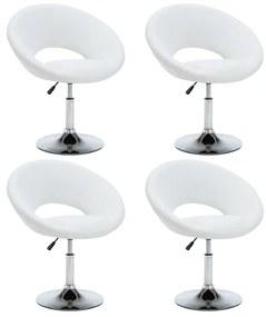 275596 vidaXL Scaune de bucătărie pivotante, 4 buc., alb, piele ecologică
