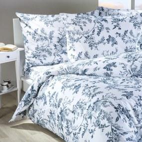 Lenjerie de pat din bumbac MONA alb cu albastru lungime standard