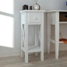 Masă laterală cu sertar, alb