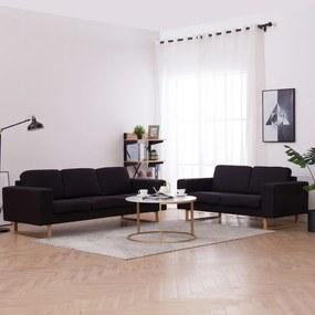 276863 vidaXL Set de canapele, 2 piese, negru, material textil