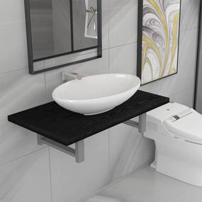 279335 vidaXL Set mobilier de baie, 2 piese, negru, ceramică