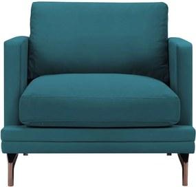 Fotoliu picioare metalice aurii Windsor & Co Sofas Jupiter, turcoaz