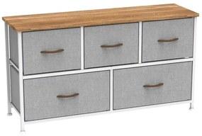 Comoda cu sertare din material textil artar rosu/alb/gri deschis TESSA TYP 1