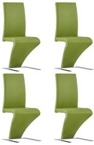 278877 vidaXL Scaune de bucătărie în zigzag, 4 buc., verde, piele ecologică