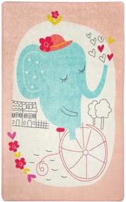 Covor pentru copii Elephant's Bike Roz - 140 x 190 cm