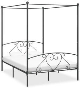 284443 vidaXL Cadru de pat cu baldachin, gri, 140 x 200 cm, metal