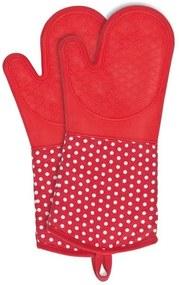 Set 2 manusi rosii/albe din bumbac si poliester pentru bucatarie Oven Gloves Red Wenko