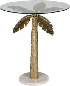 Masuta de cafea din sticla Palm 75.5x71x71 cm transparenta/auriu
