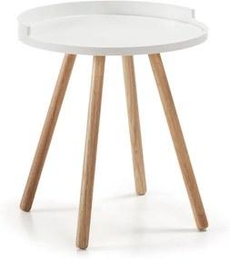 Masa rotunda cafea din lemn alb Ø46 cm Bruk La Forma