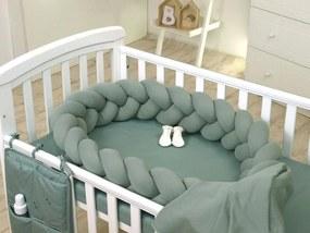 Protectie laterala patut bebe bumper impletit Sweater Salvia 210 cm