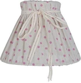 Abajur veioza textil crem cu buline roz Ø 20x14 cm