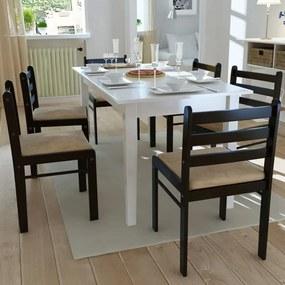 Scaune de bucătărie 6 buc., lemn, pătrate, maro