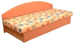 Divan tapiţat cu saltea din burete, portocaliu/imprimeu, EDO 3