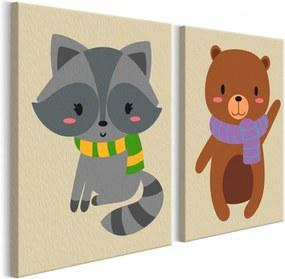 Bimago Pictura pe numere - Raccoon & Bear