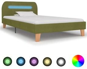 280906 vidaXL Cadru de pat cu LED-uri, verde, 90 x 200 cm, material textil