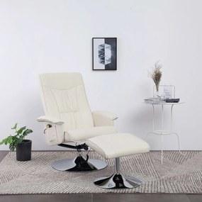 248496 vidaXL Fotoliu de masaj rabatabil cu taburet, crem, piele ecologică