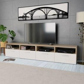 275112 vidaXL Comode TV 2 buc, PAL, 95 x 35 x 36 cm, stejar și alb