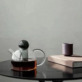 Ceainic din Sticla Transparenta cu Infuzor Gri - Sticla Transparent Inaltime(17.5 cm) x Diametru(21.5 cm) x Latime(15 cm)