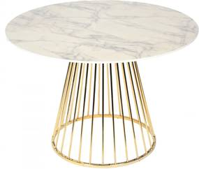 Masa Rotunda din MDF si Metal Auriu ROMANE 110cm OPJET PARIS - MDF Marmura Lungime (110cm) x Inaltime (75cm)