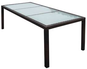 44068 vidaXL Masă de grădină, maro, 190 x 90 x 75 cm, poliratan și sticlă