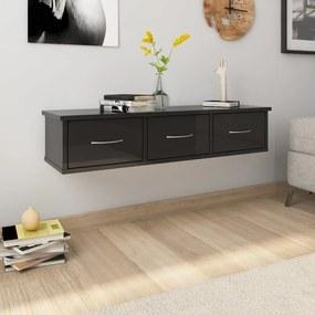 800601 vidaXL Dulap de perete cu sertare, negru lucios, 90x26x18,5 cm, PAL