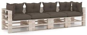 3066131 vidaXL Canapea de grădină din paleți, 4 locuri, cu perne, lemn de pin