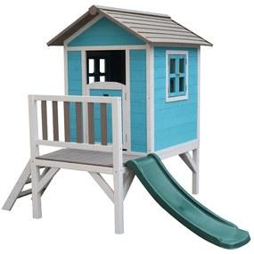 Căsuţă pentru grădină din lemn pentru copii cu tobogan, albastru / gri / alb, MAILEN