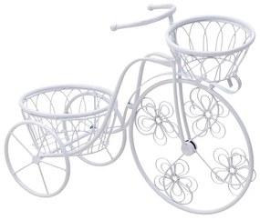 Suport metalic flori Bicicleta alb 65 cm x 24 cm x 46 cm