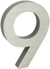 Număr aluminiu de casă 9, suprafață șlefuită 3D