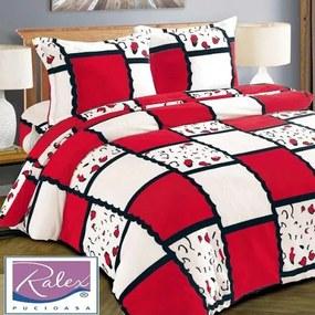 Lenjerie de pat Cocolino,4 piese,2 persoane,alb cu rosu