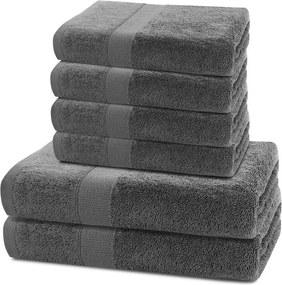 Prosoape de mâini și de baie din bumbac frotir culoare gri, set 6 buc