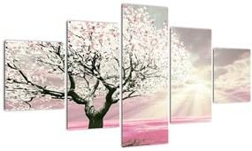 Tablou copacului roz (125x70 cm), în 40 de alte dimensiuni noi