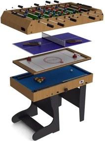 Riley 4 în 1 joc de masă pliabilă cu 12 jocuri air hockey, biliard , foosball