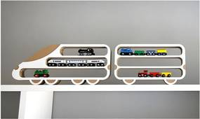 Set 2 rafturi Unlimited Design, locomotivă - vagon