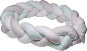 Protectie laterala patut bebe bumper impletit bumbac White Grey Mint 210 cm
