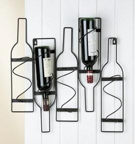 Suport suspendat pentru 5 sticle vin, metal, negru, 56x10x55 cm